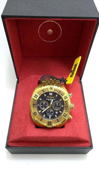 Relógio Ferrari Original Dourado Grafite Cronógrafo Fer7301