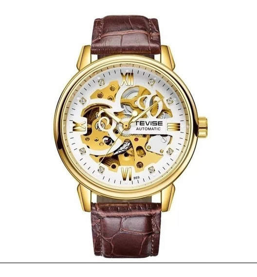 Relógio Masculino Tevise Automático Corda Couro Barato E.25