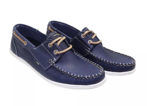 Zapato Nautico De Cuero Azul. Art. 470