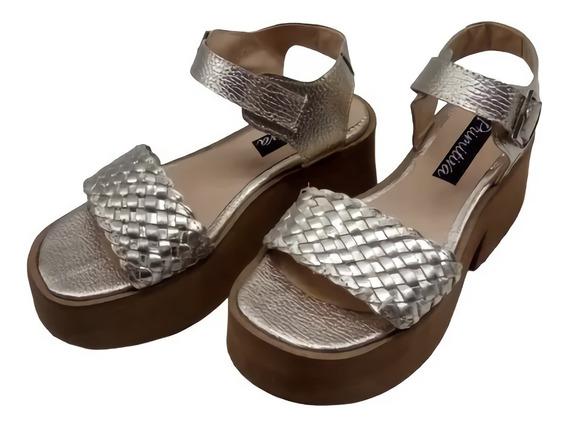 Sandalia Trenzada Cuero Base Plataforma Zapato Moda 531pm