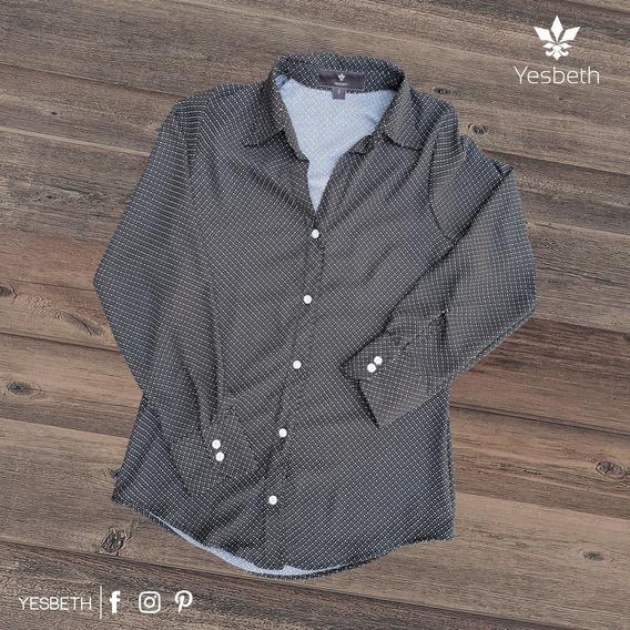 Blusa Camisa Slim Fit Negra Mini Rombos Yesbeth Tiendas Plat