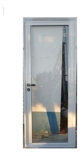 Puerta Aluminio Vidrio Entero 70x200 Blanco Aberturas