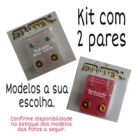 Kit Brinco Studex Antialérgico E Folhado A Ouro - 2 Pares