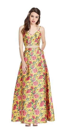Vestido Largo Línea A Con Crop Top Ajustable Eva Brazzi