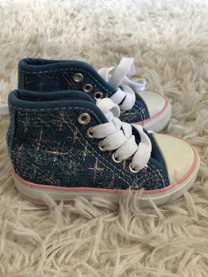 Tenis Infantil Feminino - Jeans Cano Alto - Tam 20 - (5 Usa)