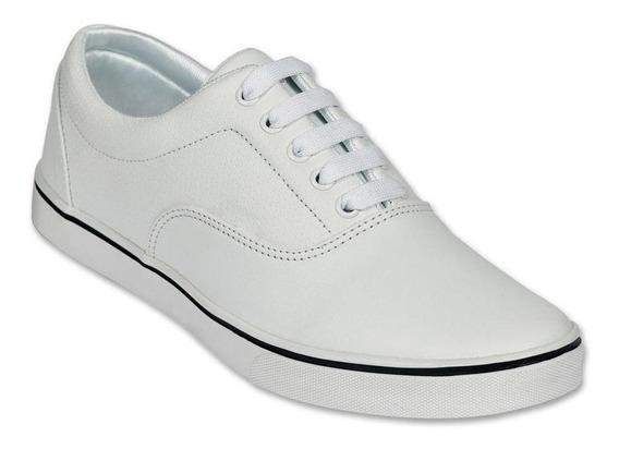 Calzado Hombre Caballero Tenis Casual Tipo Piel En Blanco
