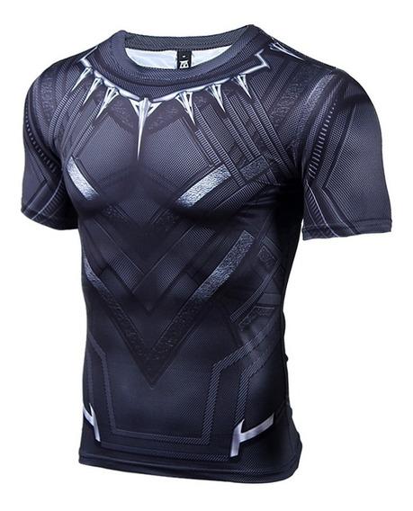 Camisa Compressão Pantera Negra Manga Curta Pronta Entrega