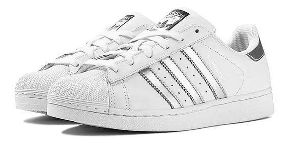 Tênis adidas Superstar Branco Com Listras Prata