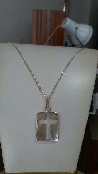 Cordão Prata 950 Com Pingente Cruz