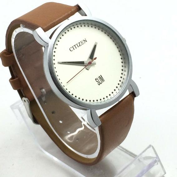Reloj Citizen Slim Cuarzo 40 Mm Inox Dial Plata C Piel (36)