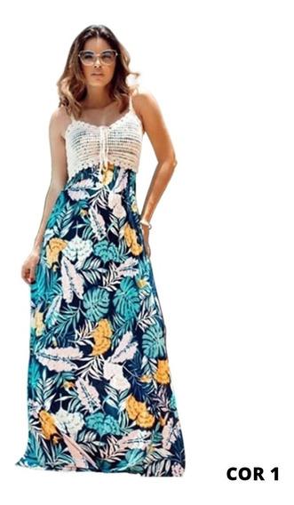 Vestido Com Croche E Tecido Verão Etnico Boho Chic 2741