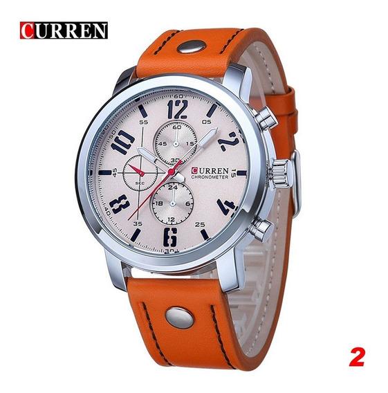 Relógio Importado Curren 8192 Original Cor Laranja E Cromado