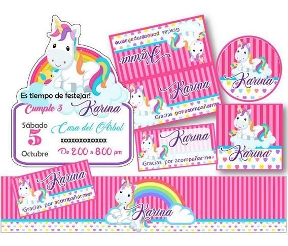 Kit Invitación Kit Imprimible Unicornio Niña C1