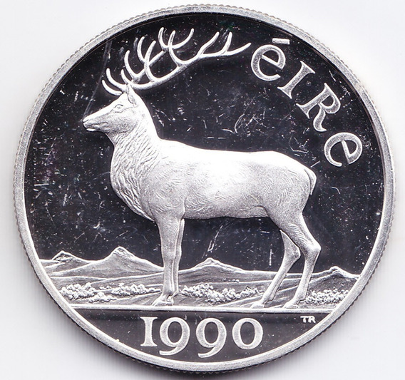 Irlanda Moneda 10 Ecu 1990 Plata Ciervo Km# X2 Proof