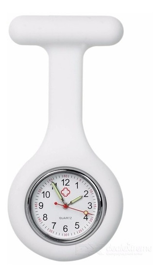 Relógio De Lapela Em Silicone Para Enfermeiras Branco.