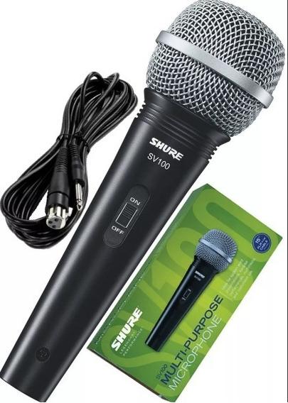 Microfone Vocal Shure Sv100 Com Cabo Xlr (f)/ P10 Nota Fiscal Garantia.