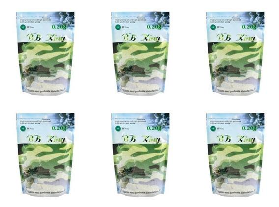 Kit 06 Sacos De Bbs Airsoft Munição Plástica Bb King 0.20g