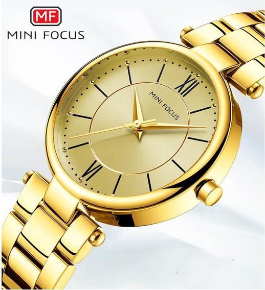 Relógio Feminino Dourado Mini Focus A Prova D´agua F Gratis