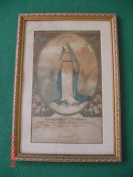 * Quadro Antigo Da Congregação Marianna - 40cm X 28cm *