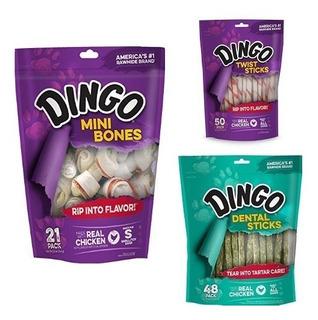 Dingo Cuero Crudo Y Dentales Bundle Con Mini Huesos, Palos T