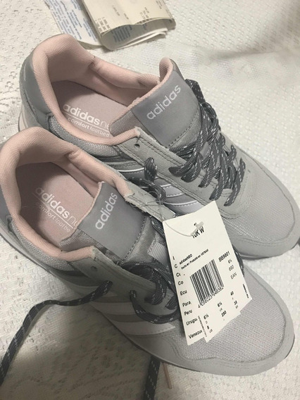 Tênis adidas Neo Comfort Cinza E Rosa Claro