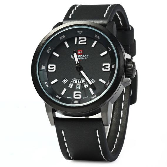 Relógio Masculino Naviforce 9028 Pulseira De Couro Militar