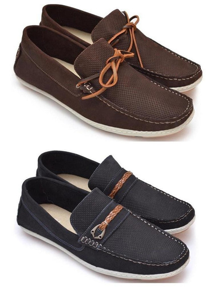 Kit 2 Sapatos Mocassim Masculino Couro Conforto Dia A Dia