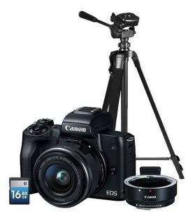 Cámara Canon Eos M50 C/adap, 15-45mm Is Stm, Tripie Y Sd