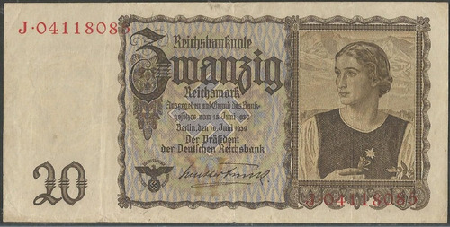 Alemania 20 Reichsmark 16 Jun 1939 P185