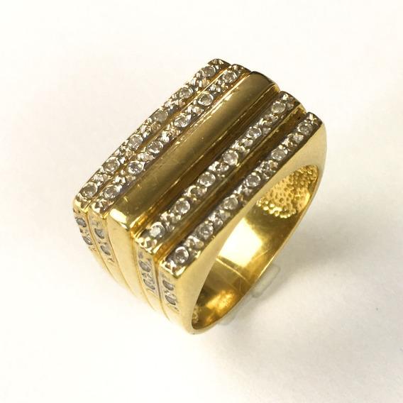 Anel Feminino Ouro 18k Tabuleiro Com 40 Brilhantes Naturais + Porta Joias 1856