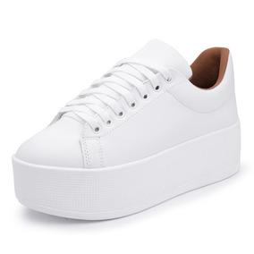 81ef6dae53 Tênis Feminina Sapatênis Top Franca Shoes Sola Alta Branco