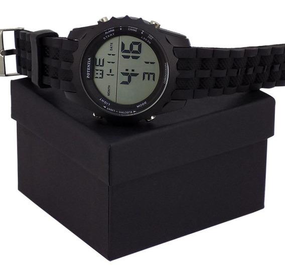 Relógio Masculino Original Potenzia Com Pulseira Borracha