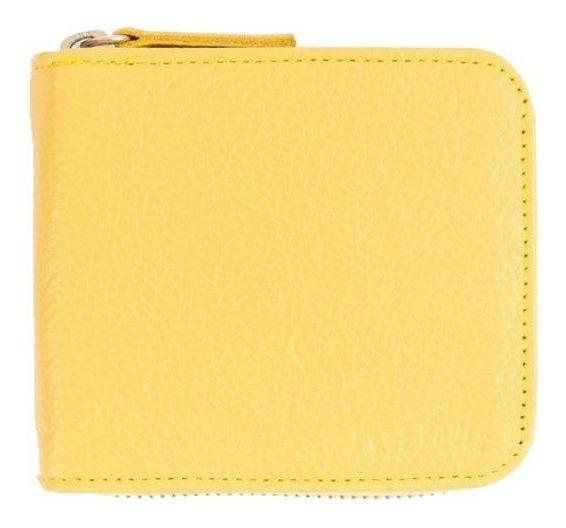 Billetera Les Pauls con cierre amarilla graneado cuero