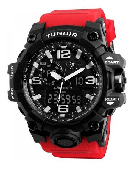 Relógio Vermelho Tuguir A Prova Dágua Original Barato D136