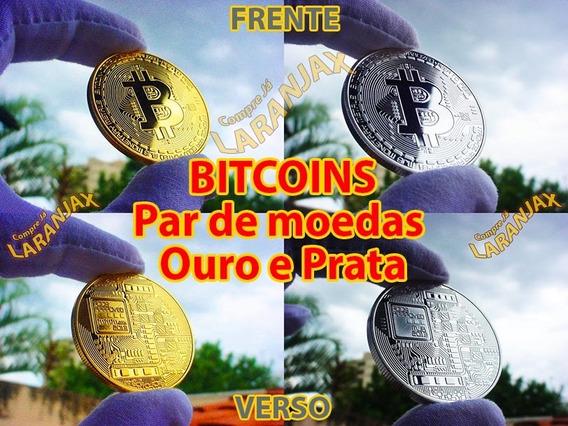Lote 2 Moedas Bitcoins Físicas Metal Ouro Prata. Coleção Hq