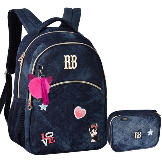 Kit Mochila Estojo Jeans Escolar Rb Rebecca Bonbon