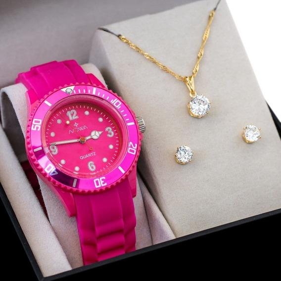 Relógio Feminino Nowa De Borracha Rosa Nw0523k Com Kit Colar E Brinco