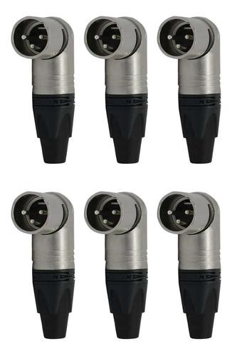 Kit 6 Plug Xlr Macho 3 Polos Angulado Nc3mrx Neutrik