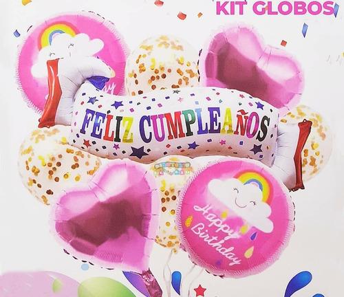 Imagen 1 de 6 de Kit De Globos Metalizados Feliz Cumpleaños Decorativo