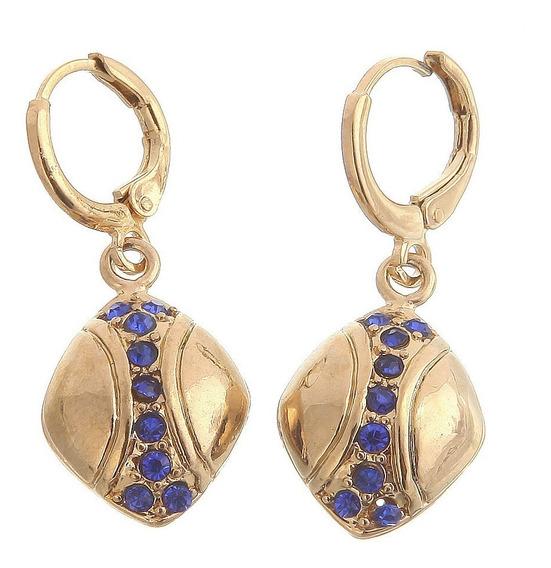 Brincos Feminino Cristal Safira Azul /c Ouro14kplated Dia 10