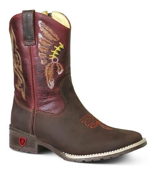 Bota Country Texana Infantil Couro C Horse Fossil Cafe Bordo