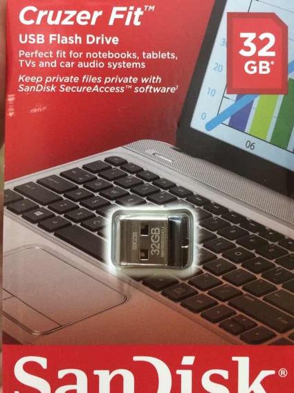 Mini Pen Drive 32gb Nano Cruzer Fit Sandisk Z33 Lacrado