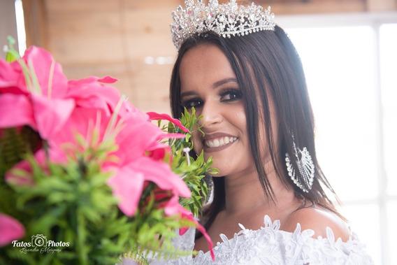 Conjunto Coroa E Brincos Modelo Princesa Noiva Debutante