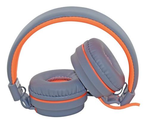 Fone De Ouvido Com Microfone Oex Neon Hs106 Cinza E Laranja