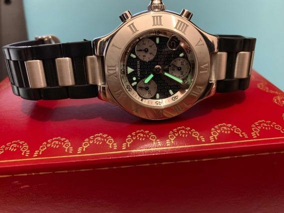 Cartier Chronoscaph Must 21 Acero Caucho Full Set Precioso