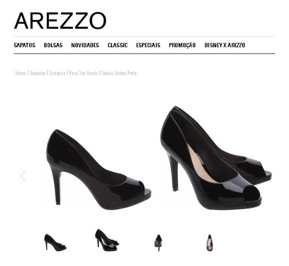 Sapato Marca Arezzo Nº 35 - Peep Toe Verniz Preto