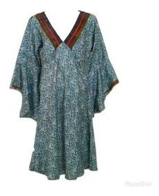 Vestido Indiano Boho Seda Indiana Importados