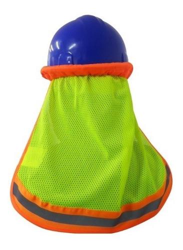 Imagen 1 de 7 de Cubre Nuca Malla Amarillo Con Reflejante Para Cascos