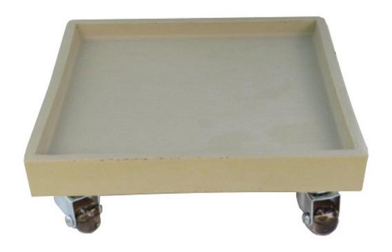 Suporte Prato Vaso Com Rodízios Silicone 30x30 Quadrado