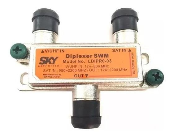 Diplexer Combinador De Señal Antena Satelital / Tda / Vhf Acopla Y Divide Señales Satelite + Tda En Un Solo Cable